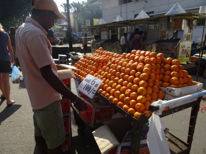 Oranges for sale outside Kandy market